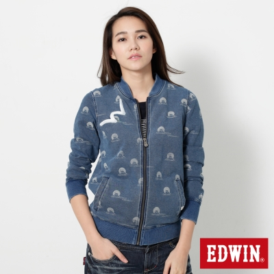 EDWIN-江戶勝-INDIGO-W富士山長袖拉鍊T恤-中性-重漂藍