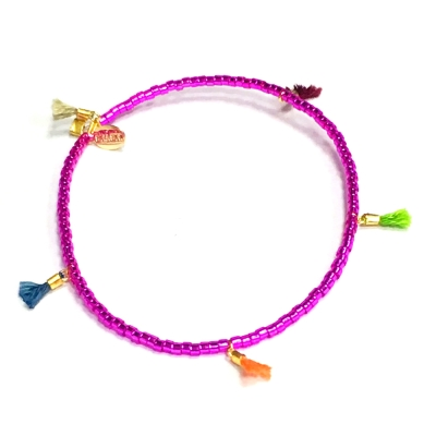 SHASHI Morgan Met Pink 微顆粒珠珠 流蘇手鍊 金屬光桃紅 彈性手圍