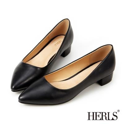 HERLS-優雅內真皮素面跟鞋-黑色