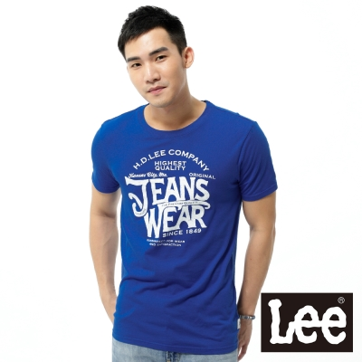 Lee 短袖T恤 圓領創意文字寬領邊 -男款(藍)