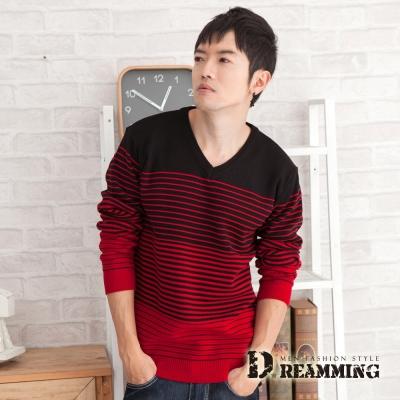Dreamming 摩登漸層條紋V領針織毛線衫-共二色