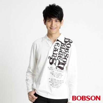 BOBSON 男款長袖POLO上衣(米白81)
