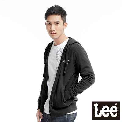 Lee-帥氣有型-背部圖案印刷連帽拉鍊外套-男款-黑灰