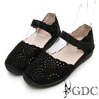 GDC-金屬質感雕花波浪可愛舒適涼鞋-黑色