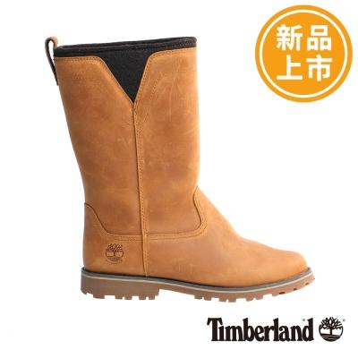 Timberland-女款駝色素面長筒休閒鞋