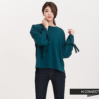 H:CONNECT 韓國品牌 女裝 - 寬袖長緞帶棉T-Shirt-綠