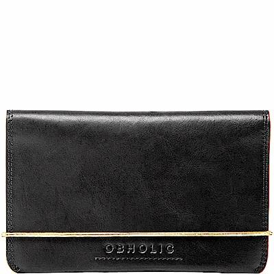OBHOLIC 黑色牛皮護照夾旅行證件套