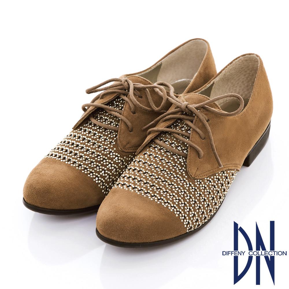 DN 摩登時尚 羊皮雷射沖孔貼鑽綁帶牛津鞋-駝