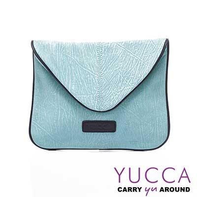 YUCCA - 牛皮新潮西式信封手拿斜背包-湖水綠D0121047
