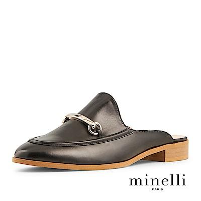 Minelli--葡萄牙製造 穆勒全真皮低跟涼拖鞋-時髦黑