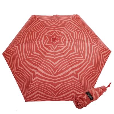 COACH-斑馬條紋攜帶型晴雨傘-橘紅