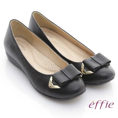 effie 彈力軟芯 全真皮金屬邊蝴蝶結平底鞋 黑