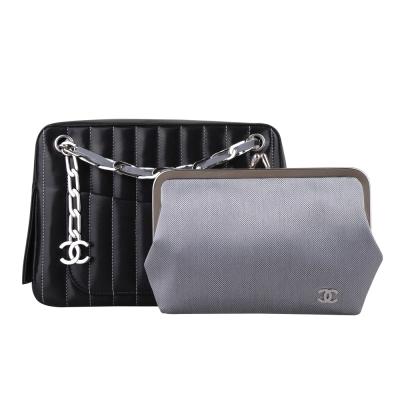 CHANEL 經典LOO吊飾直條紋鍊帶子母肩背包(黑)