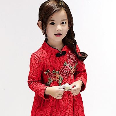 刺繡花朵 蕾絲旗袍領 加絨洋裝