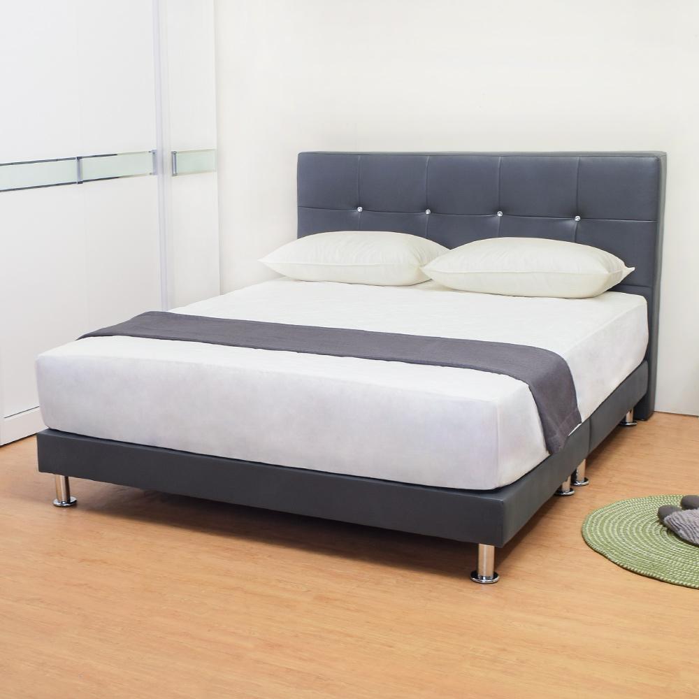 Bernice-貝塔絲6尺灰色皮革雙人床架(床頭片+床底)(不含床墊)