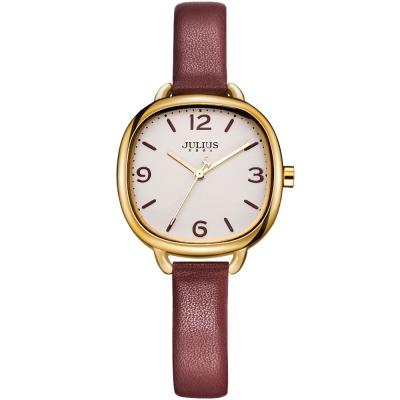 JULIUS聚利時 微甜午茶復古皮帶腕錶-酒紅/30x30mm