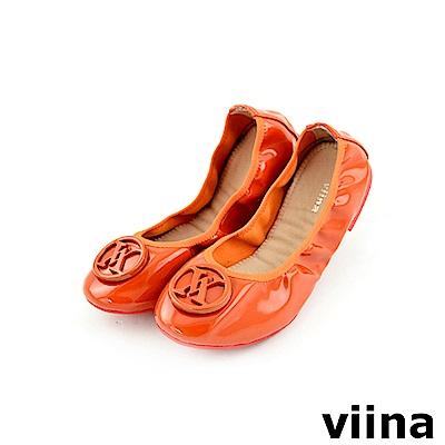 viina 經典款烤漆扣摺疊鞋MIT-橘色