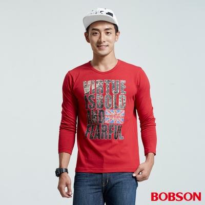 BOBSON  男款圓領字母印圖上衣-紅色
