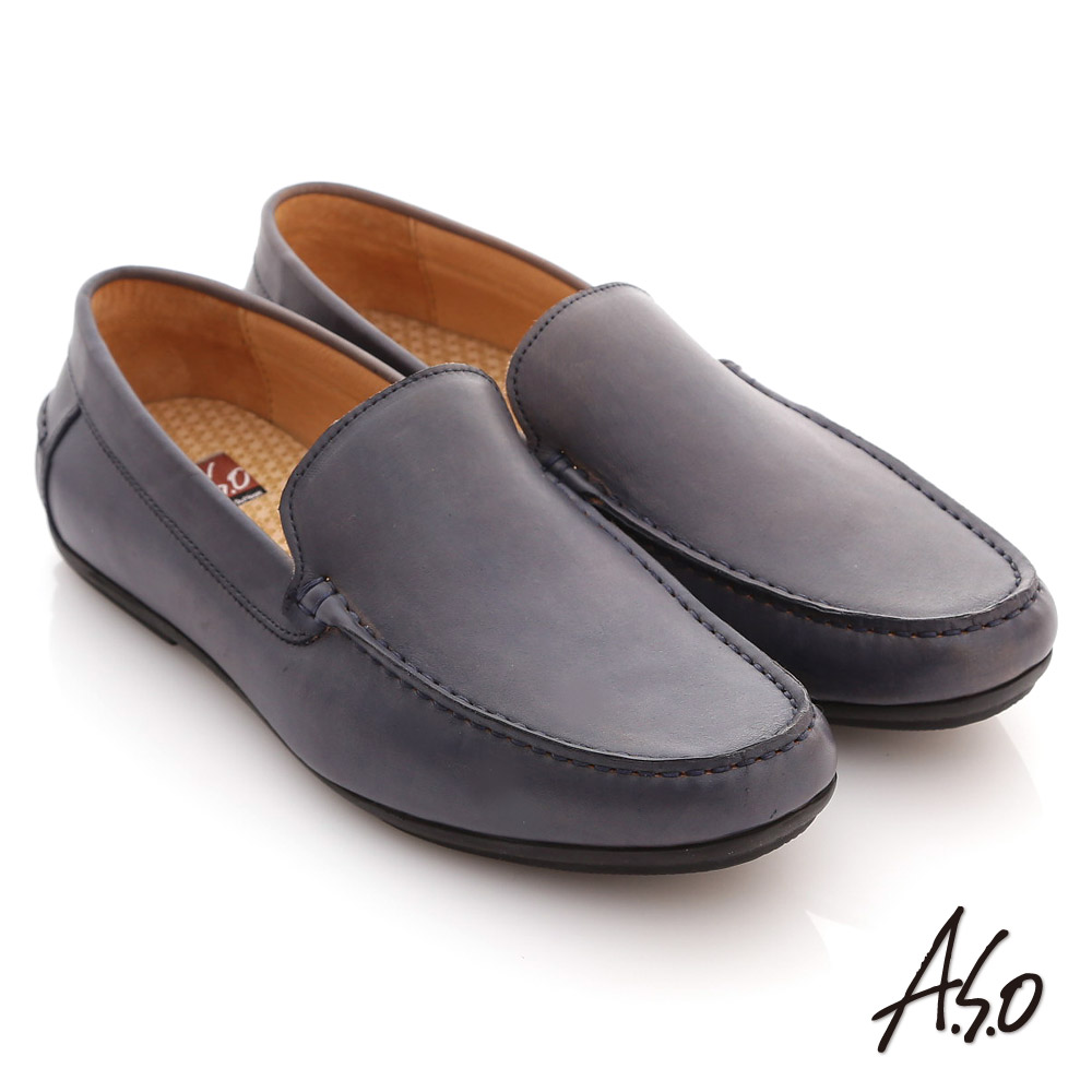 A.S.O慵懶旅行系列 雙色感素面直套式休閒鞋 深藍