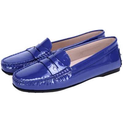TOD'S 經典漆皮豆豆樂褔鞋(藍色/女)