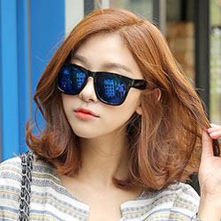梨花HaNA 歐美時尚情侶反光水銀漆黑框太陽眼鏡-星空藍鏡片