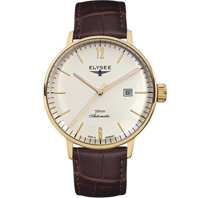 ELYSEE  Classic Sithon 復古放大紳士機械腕錶-金色/42mm