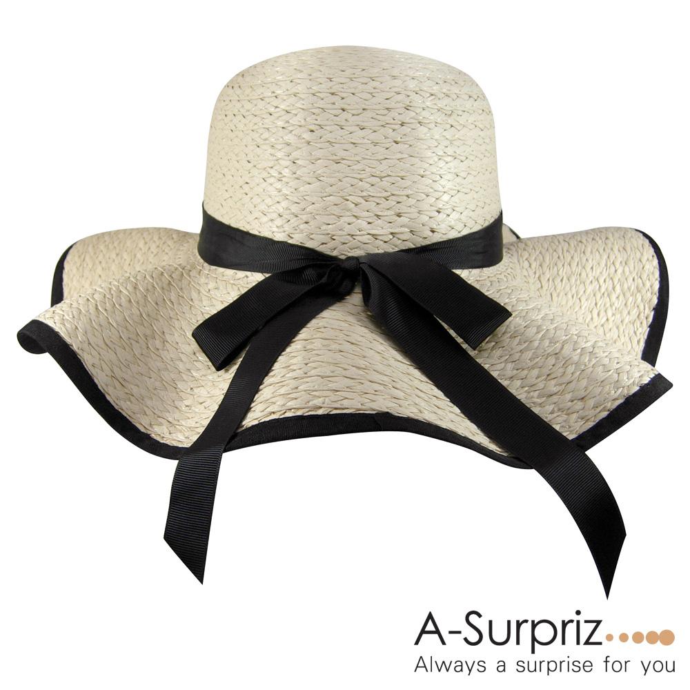 A-Surpriz 黑緞蝴蝶結波浪遮陽帽(卡其)