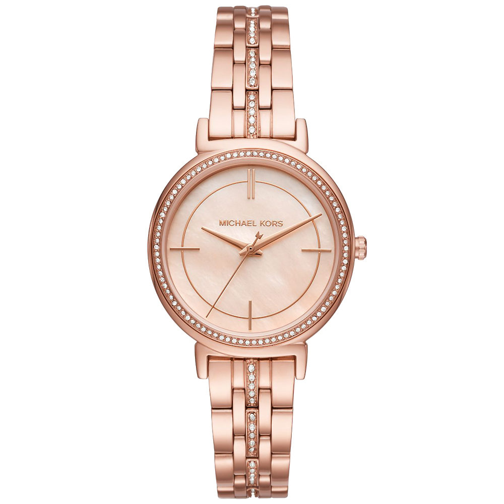 MICHAEL KORS 璀璨晶鑽時尚手錶(MK3643)-珍珠貝X玫瑰金/33mm