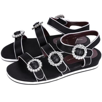 MBMJ Charlotte Strass Buckle 水鑽釦帶緞面涼鞋(黑)