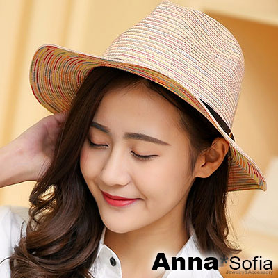 AnnaSofia 彩線織細革帶 防曬遮陽紳士帽爵士帽草帽(黃粉系)