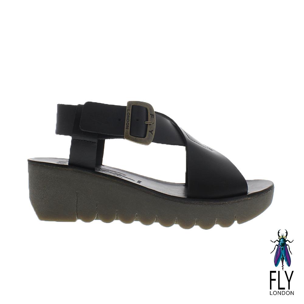Fly London(女) Yild 大交叉真皮楔型造型涼鞋 - 獨特黑