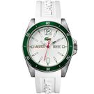 Lacoste Seattle 新潮流運動時尚腕錶-白x綠/44mm