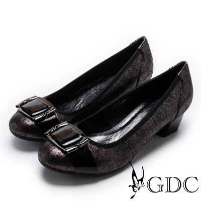 GDC-絕美紋理優雅真皮方釦低跟鞋-槍灰色