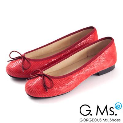 G.Ms. MIT系列-全真皮蝴蝶結蜥蝪紋芭蕾舞鞋- 蜥蝪紅