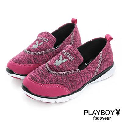 PLAYBOY 動感樣貌 簡約舒適輕量慢跑運動鞋-桃(女)