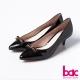 bac時尚女人味-漆皮亮面蝴蝶結尖頭短跟鞋-