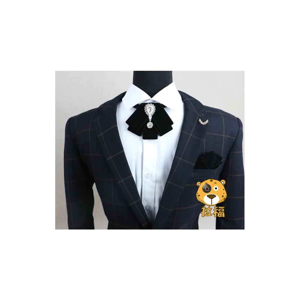 【拉福】絨布英皇族結婚領結糾糾(黑色)