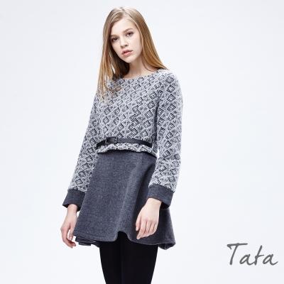 假兩件式毛呢洋裝(配腰帶)TATA