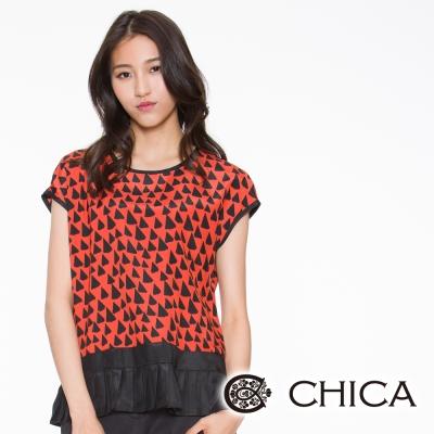 CHICA 三角幾何下擺百褶造型上衣(2色)