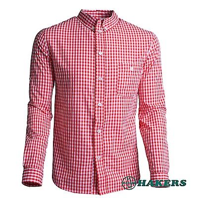 【HAKERS 】男-長袖格紋襯衫-火山紅