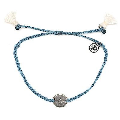 Pura Vida 美國手工 銀色指南針墜飾流蘇 藍灰色臘線衝浪手鍊手環