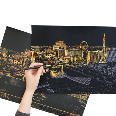 LAGO 手刮城市金色夜景手刮畫(附刮棒)-拉斯維加斯