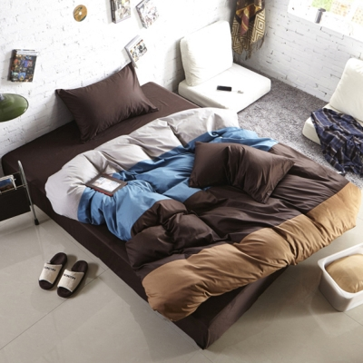 生活提案-糖果英倫系列-柔絲絨全鋪棉兩用被冬包組-加大-巧克力牛奶