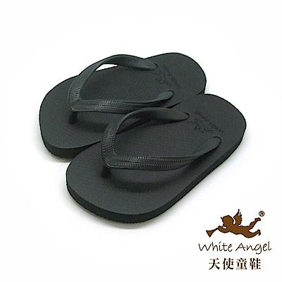 天使童鞋 馬卡龍糖果海灘拖鞋 (中童-超大童)K810-黑