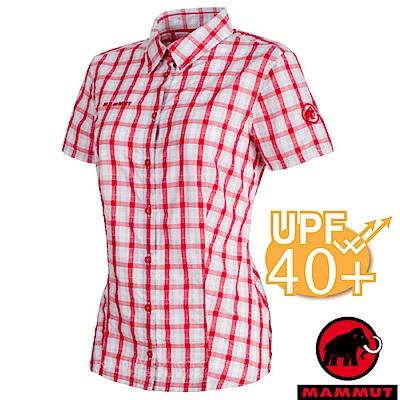 【瑞士 MAMMUT 長毛象】Kirsi 女新款 彈性透氣短袖襯衫_大理石白/紅