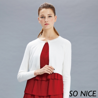 SO NICE氣質珍珠釦混紡短外套
