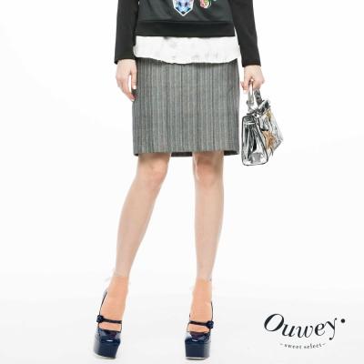 OUWEY歐薇-直條紋立體抓摺窄裙