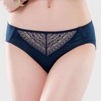 思薇爾 晴綻系列M-XXL蕾絲中腰三角內褲(陶瓷藍)