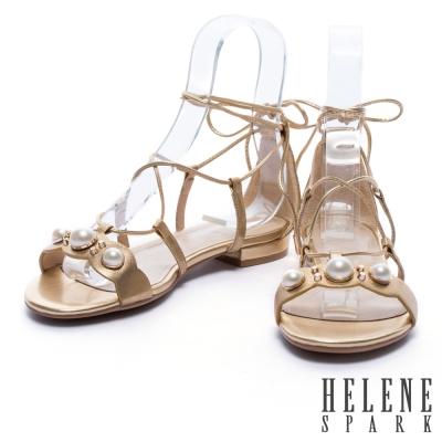 涼鞋 HELENE SPARK 復古珍珠羅馬式繞帶羊皮平底涼鞋-金