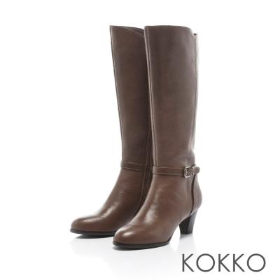 KOKKO-摩登冬日拼接飾帶高跟真皮長靴-典雅咖
